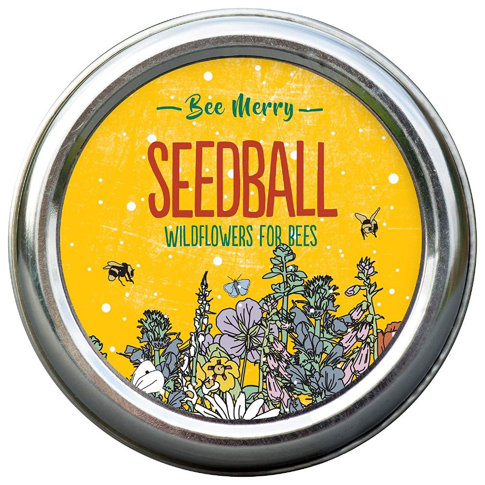 Bee Merry -  tin of Seedballs of bee friendly wildflowers